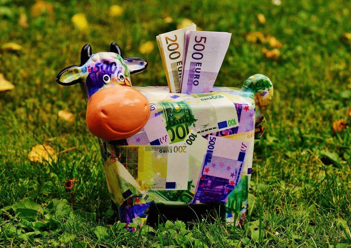 Geld in einem Sparschwein parken